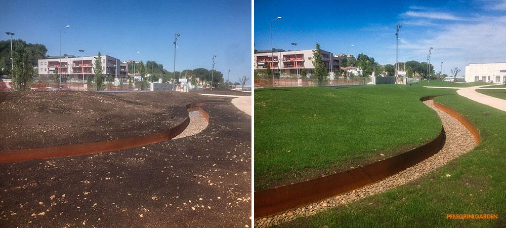 come realizzare un giardino - Melania Calzature fiume con sponde in corten